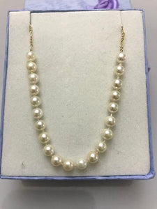 14KT Solid Yellow Gold Figeroe Chain With Genuine White Pearls Necklace