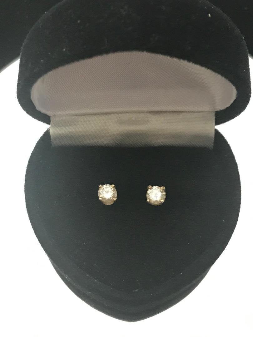 14KT Solid Yellow Gold Diamond Stud Earrings .50 PT Round TDW