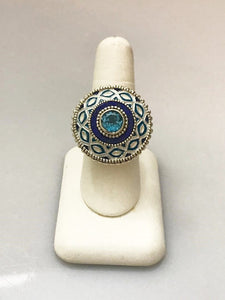 Sterling Silver .925 Blue Topaz And Enamel Ring Size 10 Aztec Look