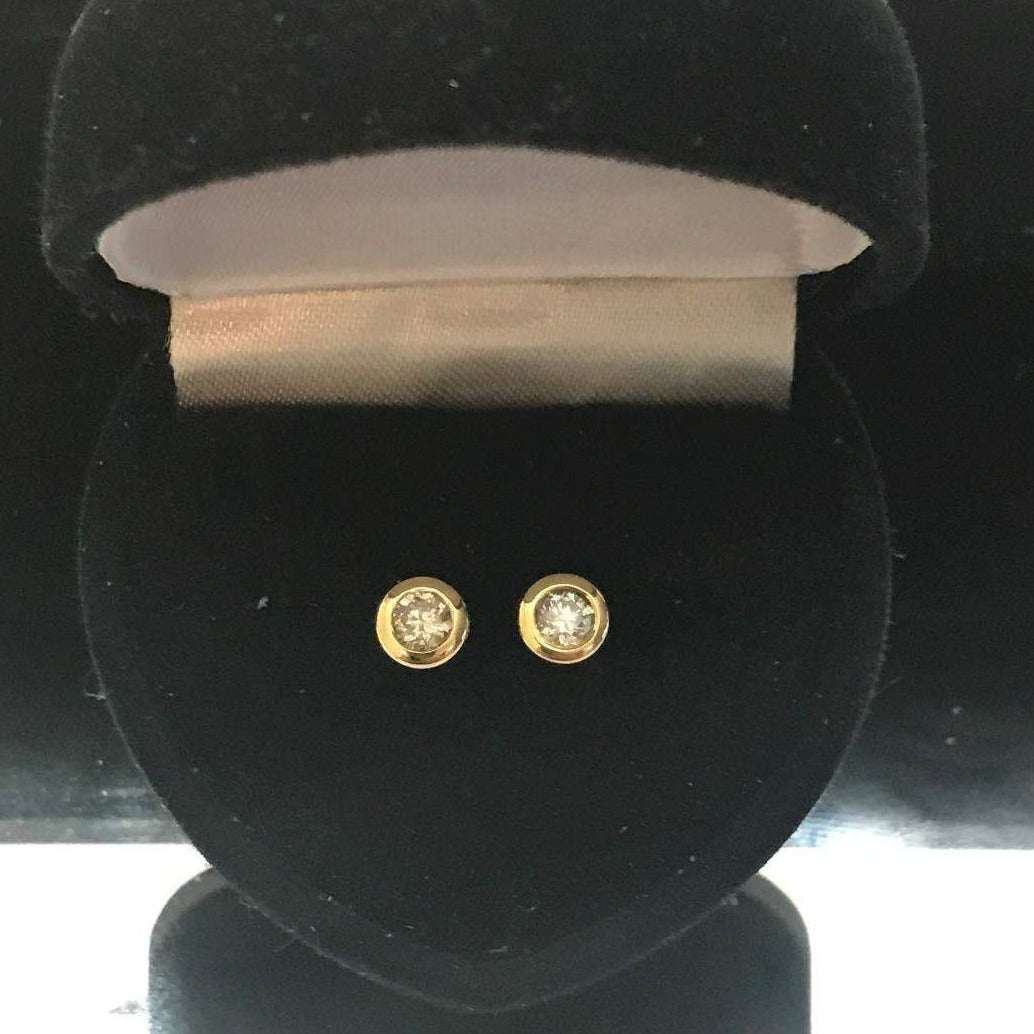 14KT Solid Yellow Gold Diamond Cupcake Stud Earrings 1/2 Carat TDW