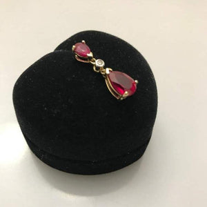 10KT Yellow Gold Inverted Pear Shaped ruby & Diamond Pendant