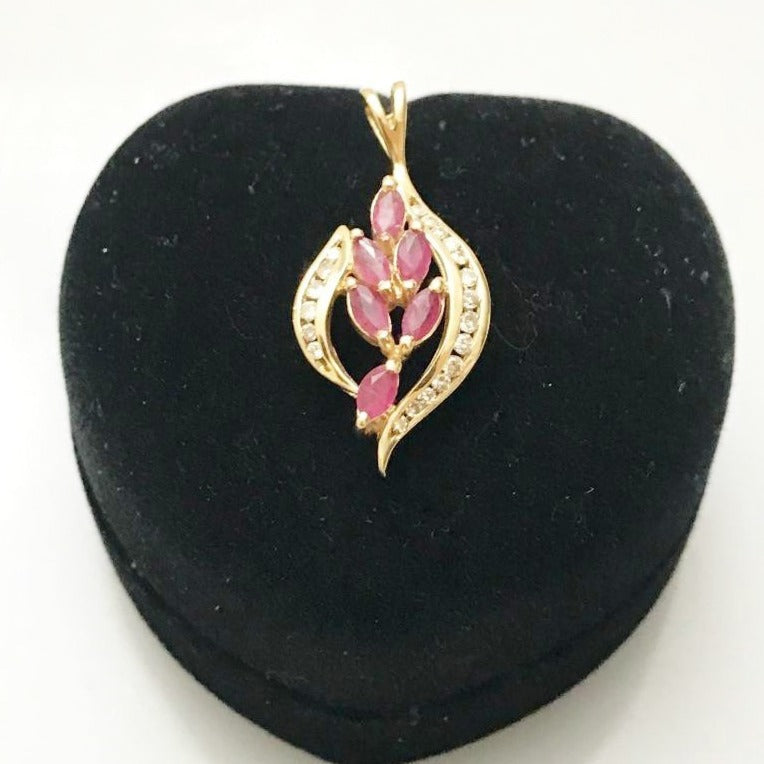 14KT Solid Yellow Gold Diamond & Ruby Pendant Floral Marquise Rubies