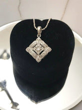 Load image into Gallery viewer, 14KT Solid White Gold Vintage Style Diamond Pendant