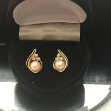 Load image into Gallery viewer, 14KT Solid Yellow Gold Pearl & Diamond Earrings 6 mm Genuine Pearl Great Luster