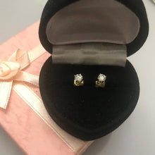 Load image into Gallery viewer, 14KT Solid Yellow Gold Diamond Solitaire Stud Earrings
