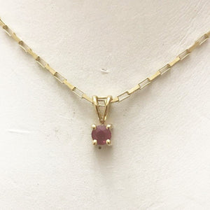 14KT Solid Yellow Gold Ruby Pendant