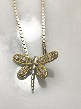 Load image into Gallery viewer, Sterling Silver .925 Box Chain Necklace With Diamond Style Dragon Fly Pendant