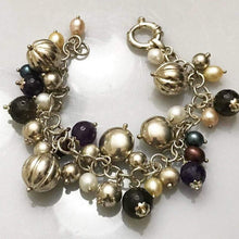 Load image into Gallery viewer, Fabulous Sterling Silver .925 Mixed Bead Colored Pearls Bracelet Made In Italy