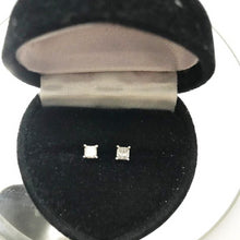 Load image into Gallery viewer, 14KT Solid White Gold Princess Cut Diamond Stud Earrings Gorgeous