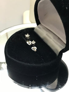 14KT White Gold Princess Cut Diamond Stud Earrings .20 Pts.