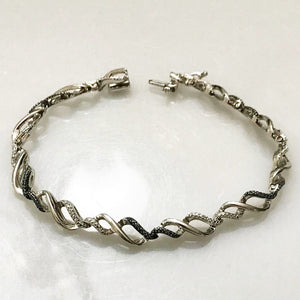 Sterling Silver .925 Link Bracelet With Diamond Design Black & White 7 1/2""