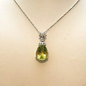 Sterling Silver .925 Pear Shaped Faceted Peridot Pendant