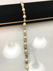 "14KT Solid Yellow Gold Corrugated Ball And Pearl Bracelet 8"" Long"