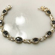 "Load image into Gallery viewer, Sterling Silver .925 Oval Sapphire & Diamond Look Bracelet 7 1/2"" Long"
