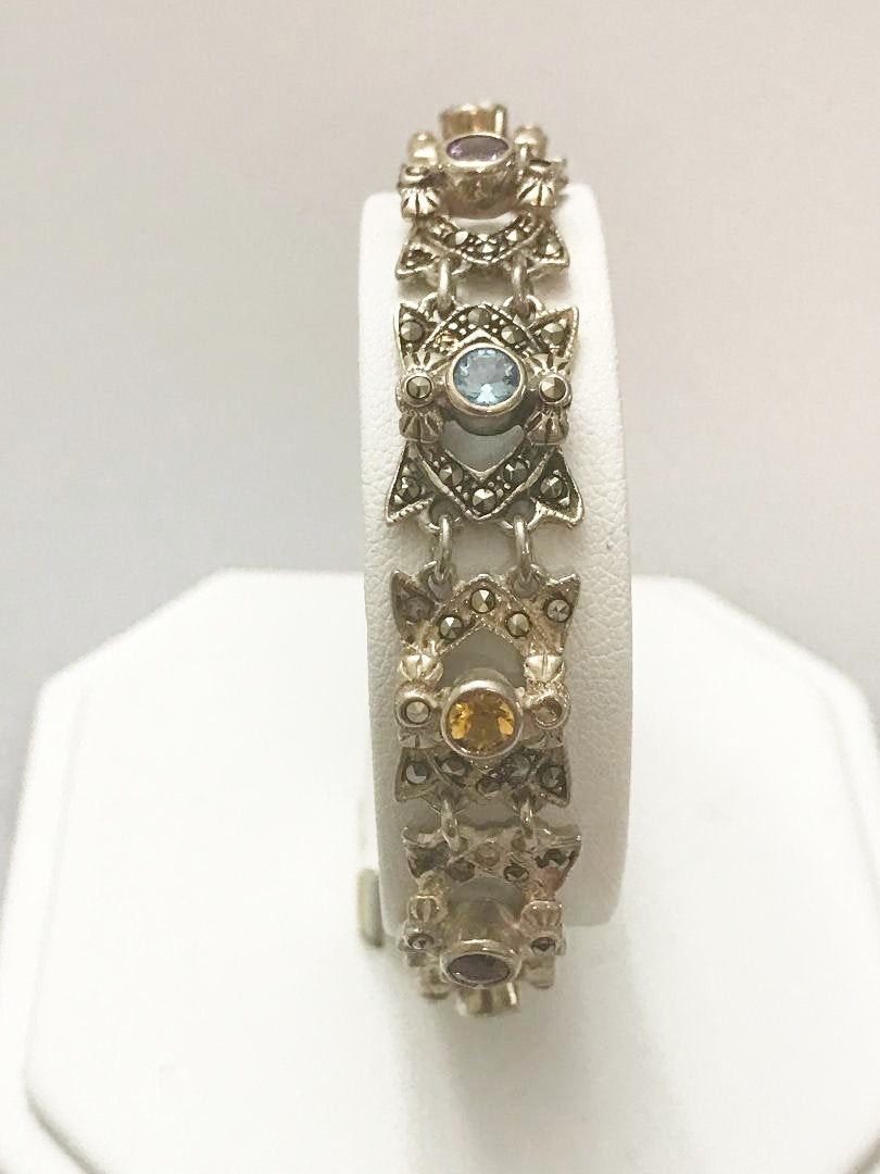 Sterling Silver .925 Multi-Colored Stone & Marcasite Bracelet 7