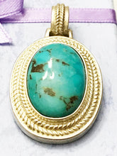Load image into Gallery viewer, Sterling Silver .925 Genuine Turquoise Pendant