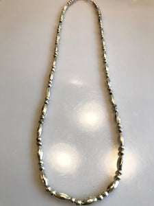 "Sterling Silver .925 Corrugated Bead And Ball Native Necklace Chain 24 1/2"" Long"