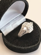 Load image into Gallery viewer, Sterling Silver Antique Filigree Style Ring With 2 CT Cubic Zirconia