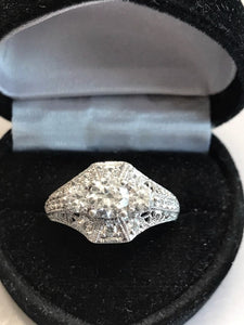 Sterling Silver Antique Filigree Style Ring With 2 CT Cubic Zirconia