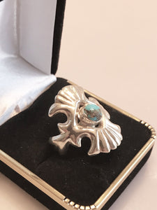 Sterling Silver Native American Turquoise Winged Ring