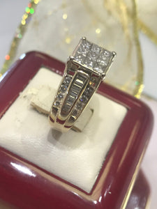14KT Two Tone Multi Shaped Diamond Fancy Ring