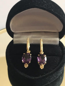 New 14KT Solid Yellow Gold Amethyst & Diamond Earrings