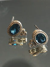 Load image into Gallery viewer, Oval Faceted Blue Topaz & Diamond Earrings