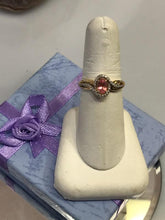 Load image into Gallery viewer, Ladies 14KT Solid Yellow Gold Oval Pink Sapphire & Diamond Halo Ring - NEW!