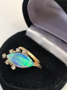Vintage Heavy 14KT Yellow Gold Fire Opal & Diamond Cocktail Ring