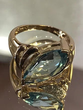 Load image into Gallery viewer, 14KT Yellow Gold Marquise Blue Topaz & Diamond Ring