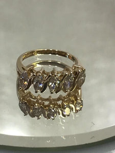 14KT Solid Yellow Gold 2 Carat CZ Tennis Ring