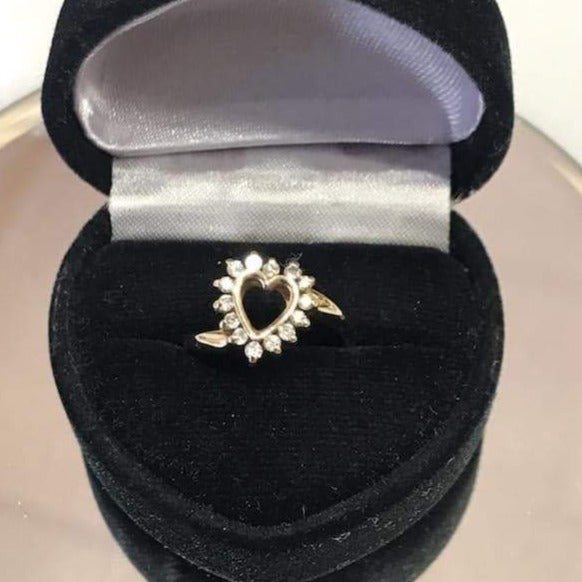 14KT Solid Yellow Gold Diamond Heart Ring Sweet & Petite