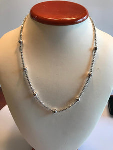 Sterling Silver .925 Cage And Ball Link Necklace