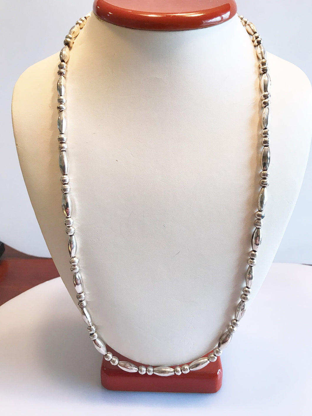 Sterling Silver .925 Corrugated Bead And Ball Native Necklace Chain 24 1/2