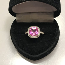 Load image into Gallery viewer, 18KT Solid White Gold Pink Topaz Asscher Cut With Diamond Halo Ring