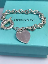 Load image into Gallery viewer, Tiffany & Co .925 Sterling Silver Heart Bracelet With Round Donut Toggle Close