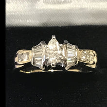 Load image into Gallery viewer, 14KT Solid Yellow Gold Marquise Shaped Diamond Engagement Ring