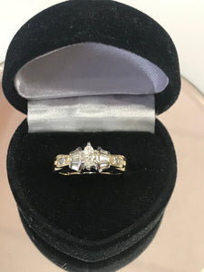 14KT Solid Yellow Gold Marquise Shaped Diamond Engagement Ring