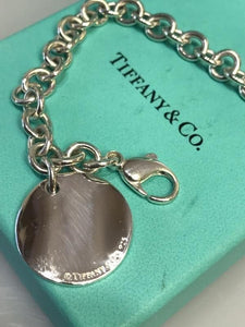 Tiffany & Co., NY Large Sterling Silver Note Tag Return To Bracelet