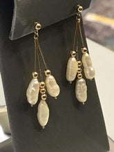 Load image into Gallery viewer, Ladies 14KT Yellow Gold Dangling Rice Pearl Dangling Earrings