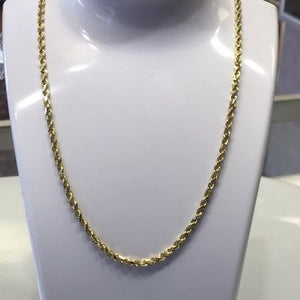 "22"" 14KT Gold Diam-cut Solid Rope Chain"