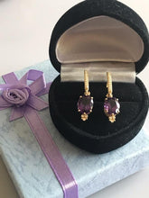 Load image into Gallery viewer, New 14KT Solid Yellow Gold Amethyst & Diamond Earrings