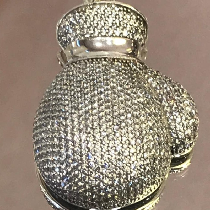 Sterling Silver .925 Micro Pave Diamond Boxing Glove Charm