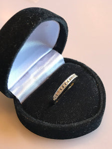 14KT White Gold Diamond Band With Millgrain Edging