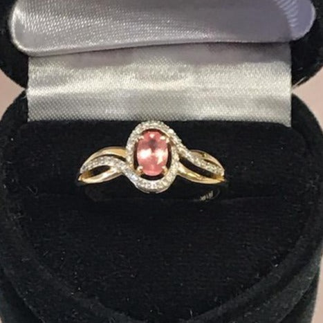 Ladies 14KT Solid Yellow Gold Oval Pink Sapphire & Diamond Halo Ring - NEW!