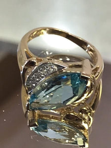 14KT Yellow Gold Marquise Blue Topaz & Diamond Ring