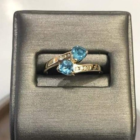 14KT Yellow Gold Heart Shaped Blue Topaz & Diamond Ring