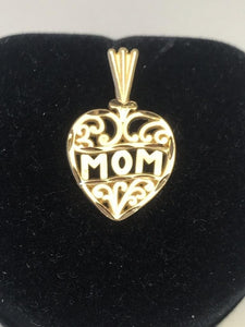 Mom Heart Charm Love 14KT Solid Yellow Gold