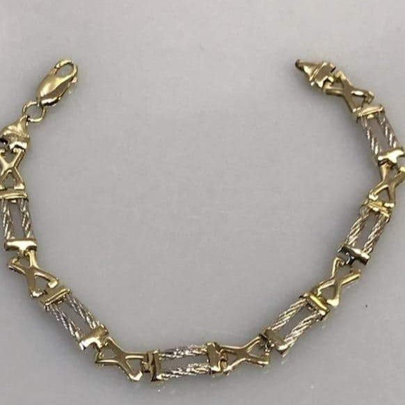 14KT White & Yellow Gold Bracelet High Polish YG