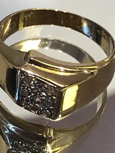 14KT Yellow Gold Diamond Cluster Ring Man Or Woman
